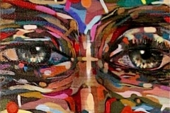 COLOR BLIND PART 2 PATTERNS 2004 24 X 60 SPRAYPAINT ON BAMBOO - ORIGINAL ARTWORK BY CHOR BOOGIE