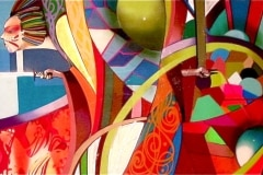 A GEISHAS DREAM 2010 48X108 SPRAY PAINT ON CANVAS - ORIGINAL ARTWORK BY CHOR BOOGIE