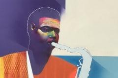 PURPLE MAN 201740X30 SPRAY PAINT ON CANVAS ARTWORK BY CHOR BOOGIE