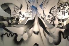 CORNERED 2011 96X192 SPRAYPAINT ON WOOD - ORIGINAL ARTWORK BY CHOR BOOGIE
