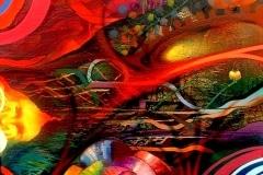 THE SUN 2008 30X40 SPRAY PAINT ON CANVAS - ORIGINAL ARTWORK BY CHOR BOOGIE