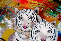 TIGER STYLE 2009 36X48 SPRAY PAINT ON CANVAS - ORIGINAL ARTWORK BY CHOR BOOGIE