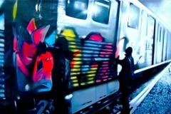 TRAINS 2005 72X120 SPRAY PAINT ON VINYL - ORIGINAL ARTWORK BY CHOR BOOGIE
