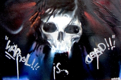 WARHOLISDEAD 2012 16X24 SPRAY PAINT ON WOOD - ORIGINAL ARTWORK BY CHOR BOOGIE