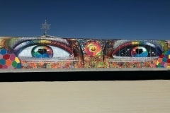 THE EYES OF THE BURNING MAN 15FT X 40FT SPRAY PAINT ON METAL BLACK ROCK CITY NEVADA- ORIGINAL ARTWORK BY CHOR BOOGIE