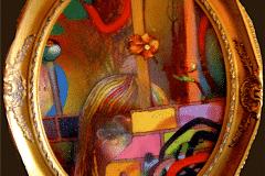 BEGGAR GIRL 2009 24X20 SPRAY PAINT ON CANVAS - ORIGINAL ARTWORK BY CHOR BOOGIE