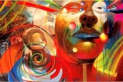 FACE IT 2012 48X96 SPRAY PAINT ON CANVAS - ORIGINAL ARTWORK BY CHOR BOOGIE