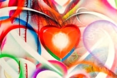 LOVE VISION 2014 48X72 SPRAY PAINT ON CANVAS - ORIGINAL ARTWORK BY CHOR BOOGIE