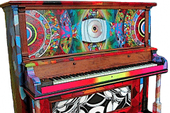 SYNESTHESHIA 2012 60X60 SPRAY PAINT ON PIANO - ORIGINAL ARTWORK BY CHOR BOOGIE