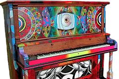 SYNESTHESHIA 2012 60X60 SPRAY PAINT ON PIANO - ORIGINAL ARTWORK BY CHOR BOOGIE
